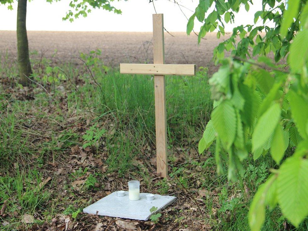Pomníček. Kříž a svíčky nedaleko rybníka Drátovec v Havlíčkově Brodě zde kdosi postavil jako připomínku nálezu mrtvého novorozeného děvčátka.