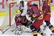Z hokejového utkání HC Rebel Havlíčkův Brod - HC Dukla Jihlava.