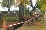 Zeď u hřbitova v Přibyslavi.