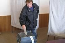 První volič přišel vhodit svůj hlasovací lístek ve volební místnosti v havlíčkobrodské radnici v pátek krátce po druhé hodině odpolední.