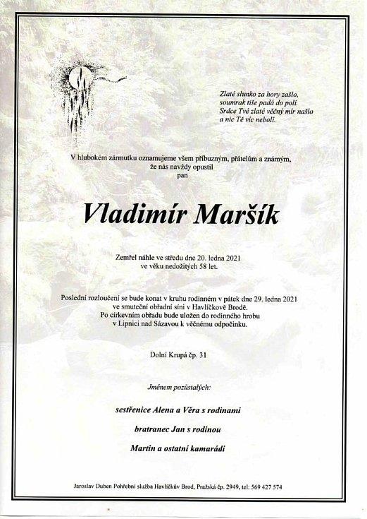 Zemřel Vladimír Maršík.
