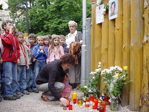 Rozloučení s Jakubem Šimánkem na dětském hřišti v Havlíčkově Brodě.