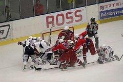 Z hokejového utkání Havlíčkův Brod - Chomutov.