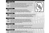 Program Letní žurnalistické školy K.H. Borovského v Havlíčkově Brodě. Infografika.