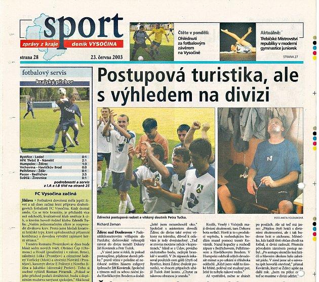 Článek ztitulní strany deníku Vysočina otriumfu Ždírce.