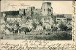 Podobu lipnického hradu po požáru zachycuje jen vzácně pár dobových pohlednic.