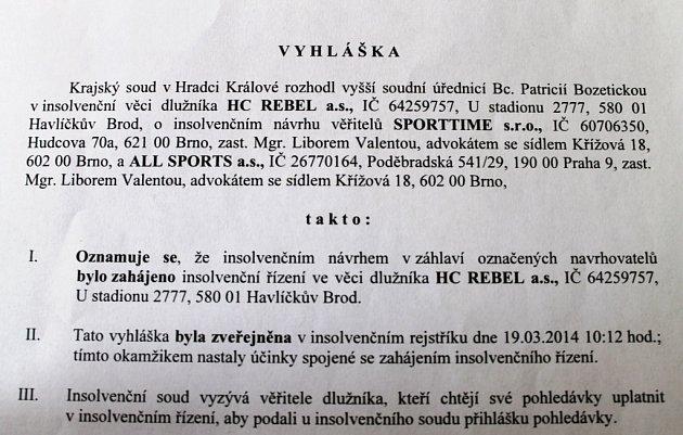 Dokument hradeckého krajského soudu.