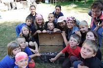 Skautský tábor v Železných Horkách.