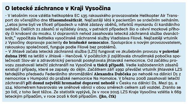 Letecká záchranka vKraji Vysočina.