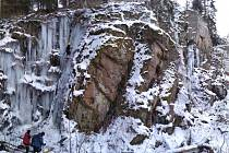 Ledová stěna u obce Sedlice