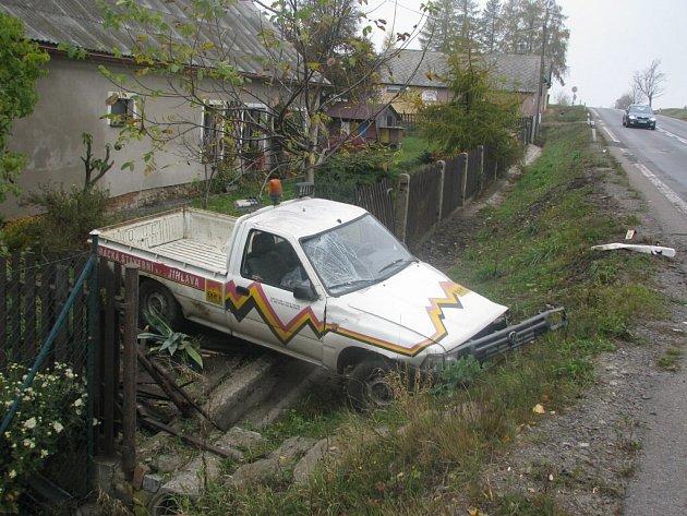 Nehoda dodávky u Skřivánku.