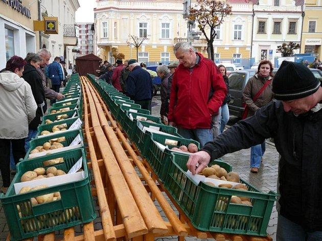 Na své si na náměstí přišli prodejci brambor.