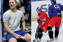 První den závěrečné přípravy české hokejové reprezentace na mistrovství světa provázela dobrá nálada. Chuť na vtípky měl v šatně i Pavel Kubiš (na snímku vlevo), na ledě se potom dobře bavili Ladislav Kohn (vpravo v červeném) a Petr Čáslava.