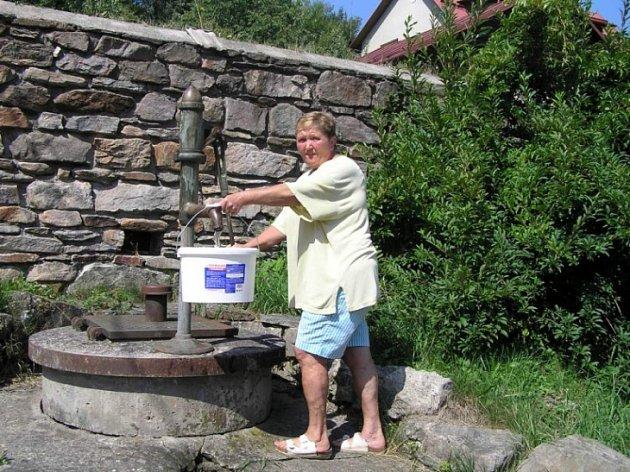 Náhradní řešení. Jarmila Hollá z Dalečína využila k získání vody studnu. Část obce je totiž pro poruchu zásobována z obecního zdroje vodou jen dvakrát denně.
