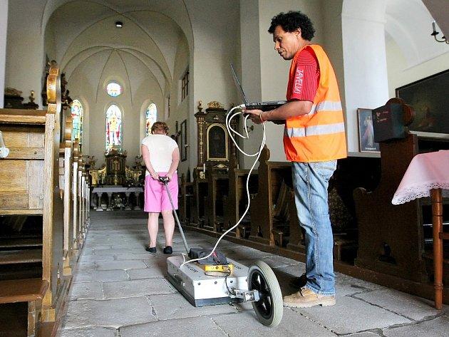 Průzkum v kostele sv. Václava.