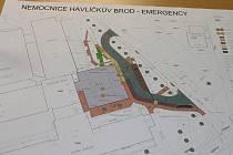 Technický výkres  nové budovy urgentního příjmu havlíčkobrodské nemocnice (šedá barva).