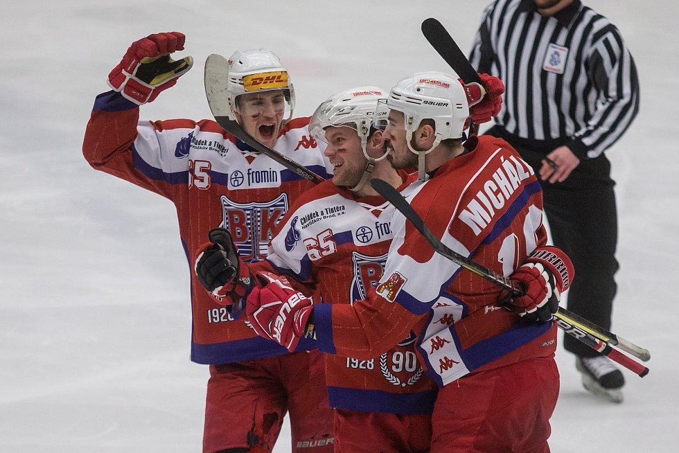 postupují. Hokejisté Havlíčkova Brodu v pátém zápase porazili Kopřivnici přesvědčivě 7:1.