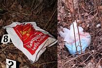 Igelitové tašky. Do těchto igelitových tašek bylo zabaleno tělo mrtvého novorozence.