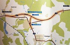 Takto bude u Rouštan nově vedena trasa nového asi tři kilometry dlouhého úseku silnice I/34. Reprofoto.
