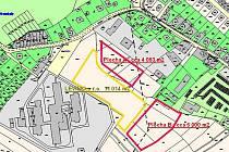 Dva pozemky v ulici Rozkoš o celkové rozloze zhruba jeden hektar (na mapce červeně ohraničené plochy A a B) nabízí podnikatelům město Světlá. Ti mohou sami navrhnout cenu, za kterou chtějí pozemky pronajmout, nebo koupit.