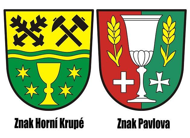 Znaky Horní Krupé a Pavlova.