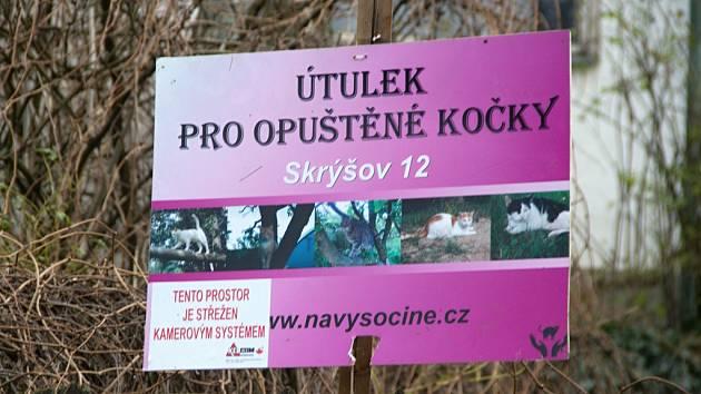 Útulek pro opuštěné kočky ve Skrýšově.