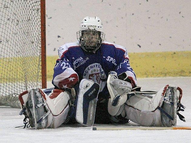 Chotěbořští hokejisté (na snímku brankář Daniel Trtík) v I. krajské hokejové lize tápou, v závěru sezony budou bojovat o záchranu ve skupině o udržení.