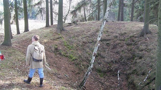 Podivné propadliny v lesích u Stříbrných Hor označují místa, kde se kdysi těžilo stříbro.