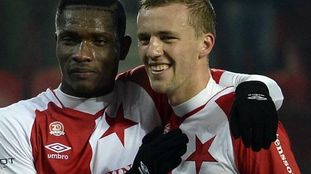 Tomáš Souček (vpravo) vstřelil jedinou branku v utkání se Zlínem a připsal si tak už svůj šestý zásah v sezoně.