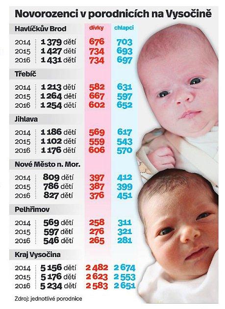 Novorozenci vporodnicích na Vysočině. Infografika.