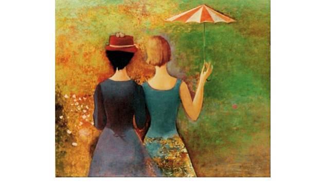 Obraz s názvem Souznění namaloval Václav Matějíček v roce 1992.