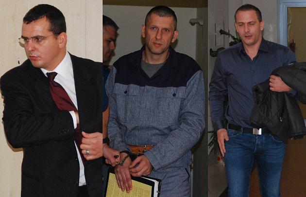 Ve vyděračské kauze, jíž se opět začal zabývat jihlavský soud, figurují tři obžalovaní – (zleva) bývalý brněnský policista Martin Foltýn, dvanáctkrát soudně trestaný recidivista Roman Motičák a dosud bezúhonný Zdeněk Zapletal.