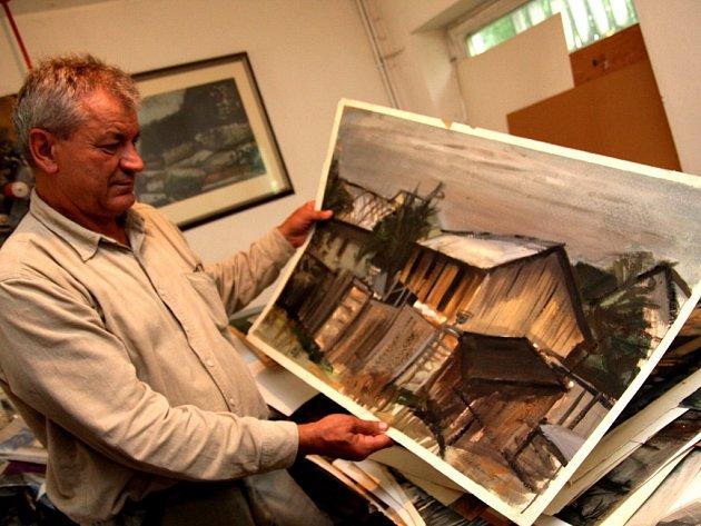 Akademický malíř Josef Saska se na prázdniny již tradičně přestěhoval z Prahy na rodné Havlíčkobrodsko.
