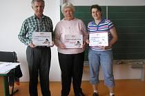 Vítězem letošní soutěže se stala Marie Poulová ( uprostřed), na druhém místě skončil Josef Burian, třetí místo a pomyslný bronz patřil Dagmar Bačkovské.