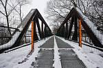 Starý ocelový most přes Sázavu v Brodě.