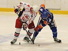 Zasloužený výsledek. Hokejisté Havlíčkova Brodu (v bílém) v Benátkách nepodali dobrý výkon a prohráli 0:3.