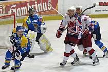 Z hokejového utkání HC Rebel - HC Slovan Ústečtí Lvi.