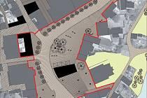 Červená barva ohraničuje náměstí, které projde v dalších letech kompletní rekonstrukcí.
