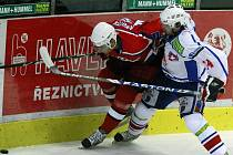 Z hokejového utkání Třebíč - Havlíčkův Brod.