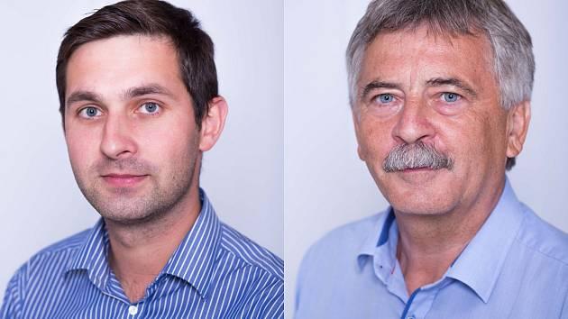Čeněk Jůzl v zastupitelstvu končí (vpravo). Nahradí ho třicetiletý Ondřej Rázl (za KDU-ČSL).