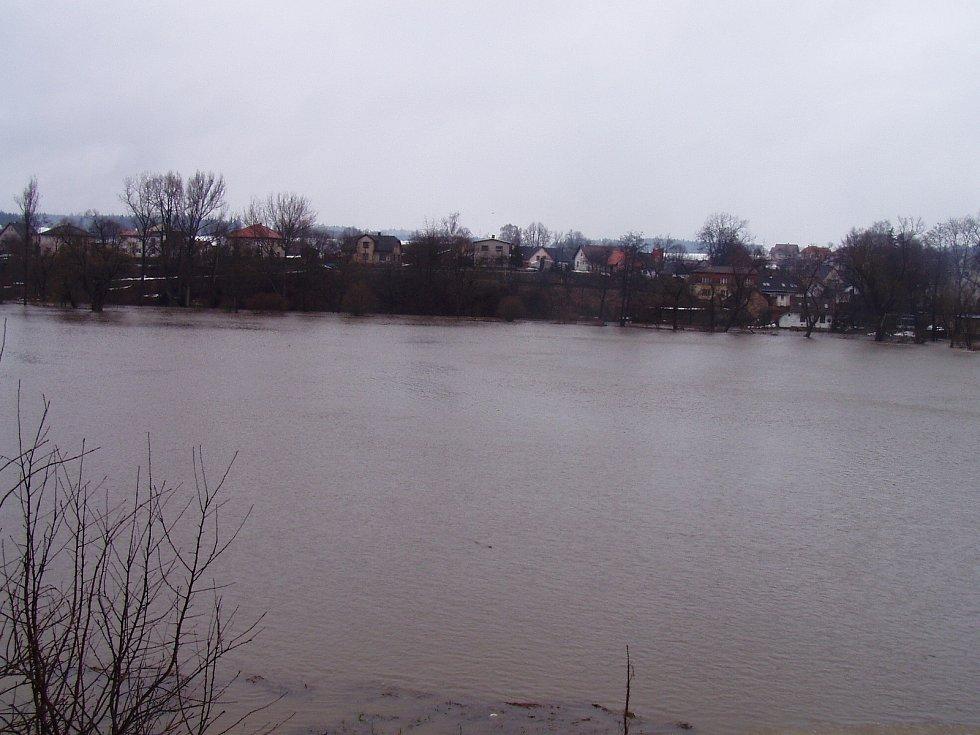 Vylitá Sázava v Havlíčkově Brodě.