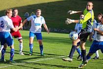 První gól v derby zápase mezi Havlíčkovou Borovou a Pohledem inkasovali hosté z hlavy Petra Veselého. Přesto byl pohledský gólman Jakub Vašíček (na snímku) nejlepším hráčem Pohledu.