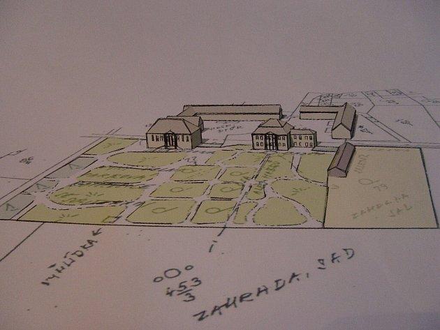 Studie parku. Kreslená skica zachycuje areál parku tak, jak vypadal v minulosti.