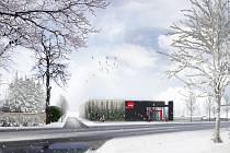 Takto má vypadat supermarket společnosti Penny v Přibyslavi. Podle starosty Martina Kamaráda jde pouze o předběžnou vizualizaci.