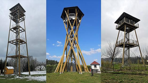 Trojice Toulovcových rozhleden (zleva) Terezka, Borůvka a Toulovcova.