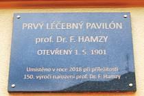 Pamětní deska připomínající profesora Hamzu