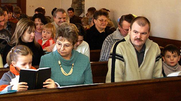 Evangelická mše v Hlinsku.
