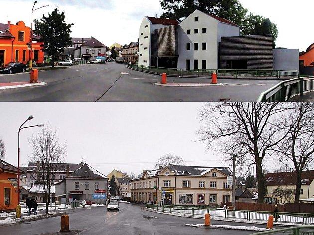 Nynější stav v místě plánované výstavby (dolní snímek) a model výstavby.