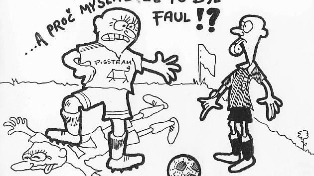 Špetka humoru ze sportovního prostředí od chrudimského kreslíře Miroslava Alexy.