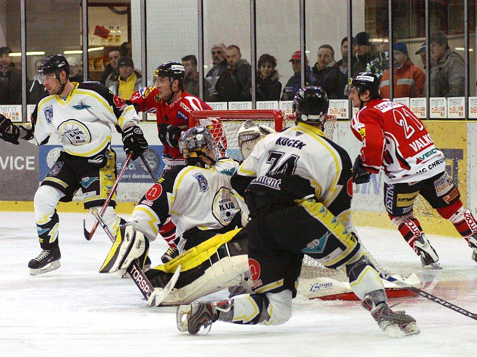 Z hokejového utkání Chrudim - Kadaň.